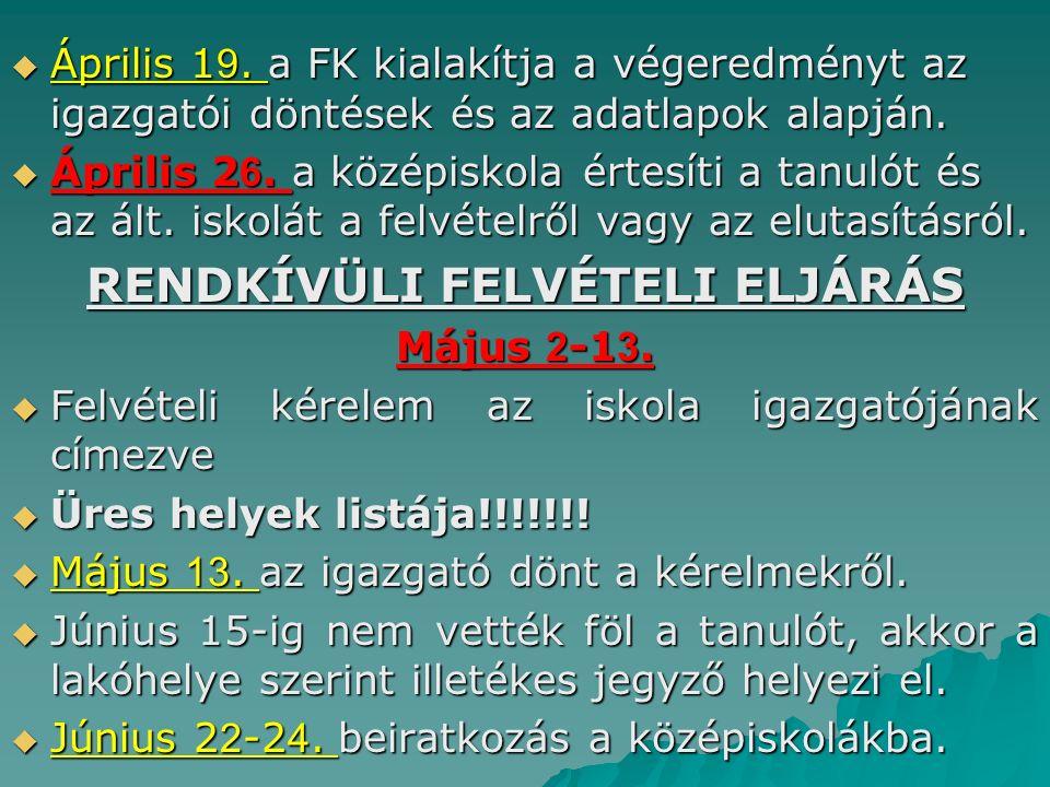  Április 1 9. a FK kialakítja a végeredményt az igazgatói döntések és az adatlapok alapján.