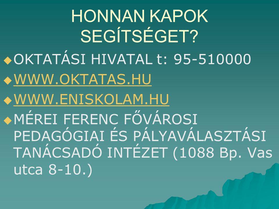 HONNAN KAPOK SEGÍTSÉGET.