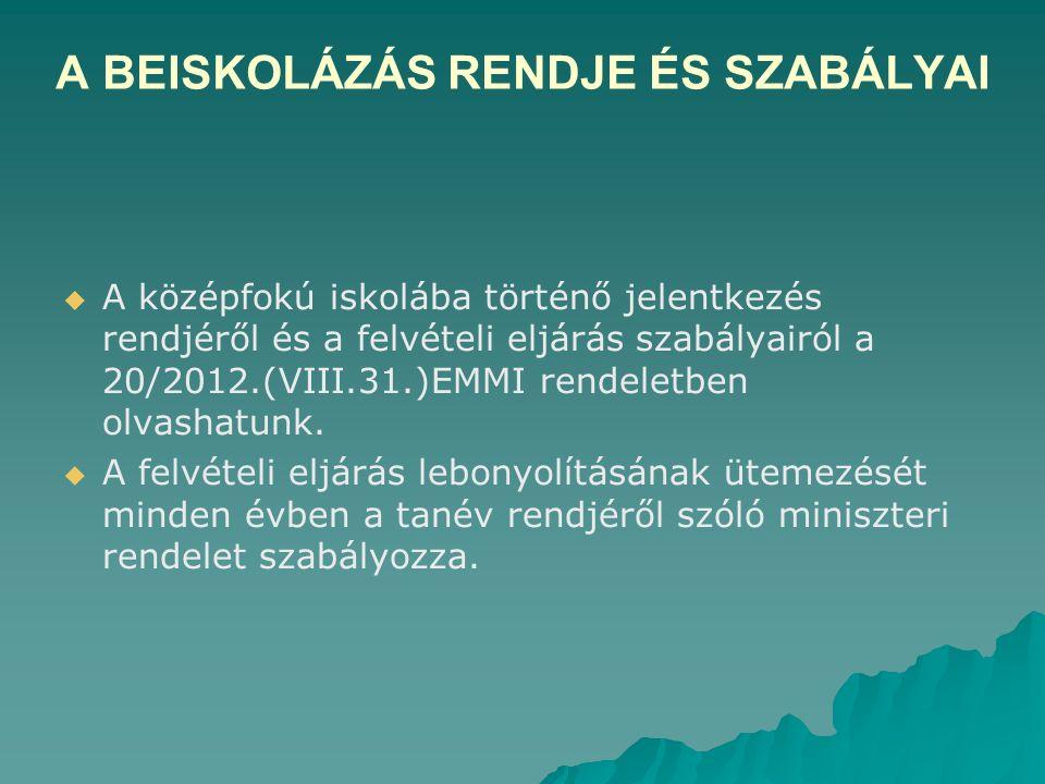 A BEISKOLÁZÁS RENDJE ÉS SZABÁLYAI   A középfokú iskolába történő jelentkezés rendjéről és a felvételi eljárás szabályairól a 20/2012.(VIII.31.)EMMI rendeletben olvashatunk.