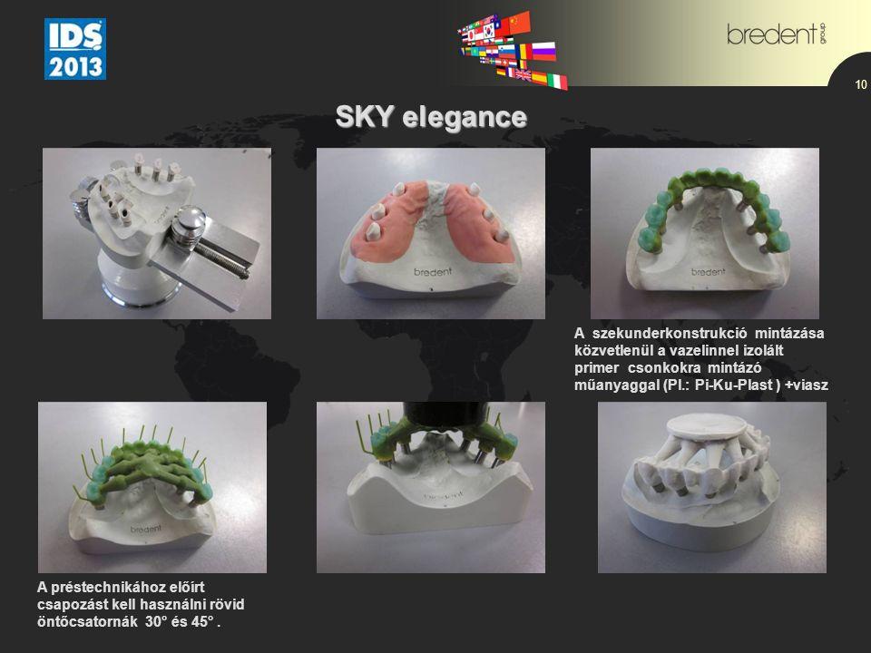 10 SKY elegance SKY elegance A szekunderkonstrukció mintázása közvetlenül a vazelinnel izolált primer csonkokra mintázó műanyaggal (Pl.: Pi-Ku-Plast )
