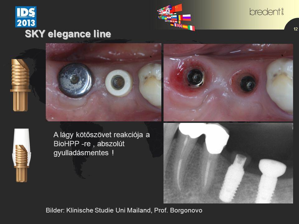 12 SKY elegance line Bilder: Klinische Studie Uni Mailand, Prof. Borgonovo A lágy kötőszövet reakciója a BioHPP -re, abszolút gyulladásmentes !