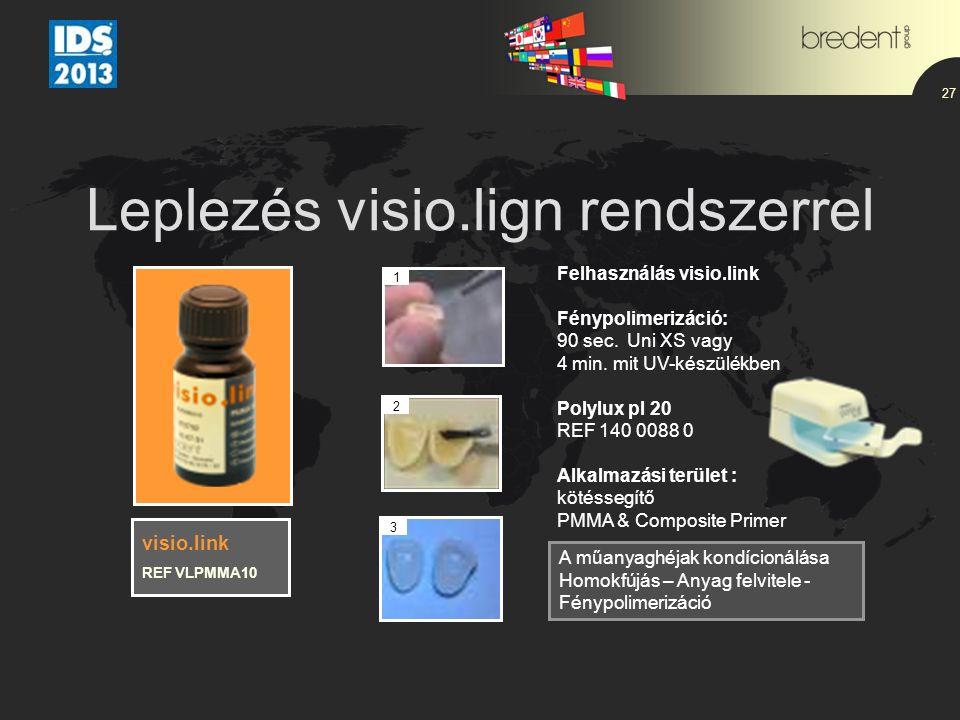 Leplezés visio.lign rendszerrel 27 Felhasználás visio.link Fénypolimerizáció: 90 sec. Uni XS vagy 4 min. mit UV-készülékben Polylux pl 20 REF 140 0088
