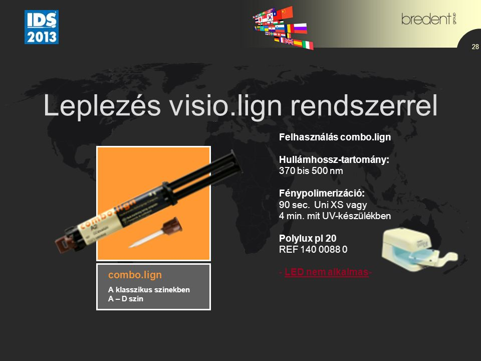Leplezés visio.lign rendszerrel 28 Felhasználás combo.lign Hullámhossz-tartomány: 370 bis 500 nm Fénypolimerizáció: 90 sec. Uni XS vagy 4 min. mit UV-