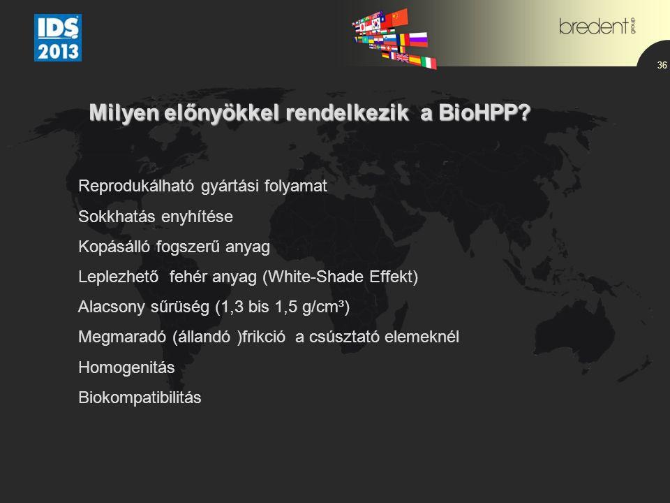 36 Milyen előnyökkel rendelkezik a BioHPP? Reprodukálható gyártási folyamat Sokkhatás enyhítése Kopásálló fogszerű anyag Leplezhető fehér anyag (White
