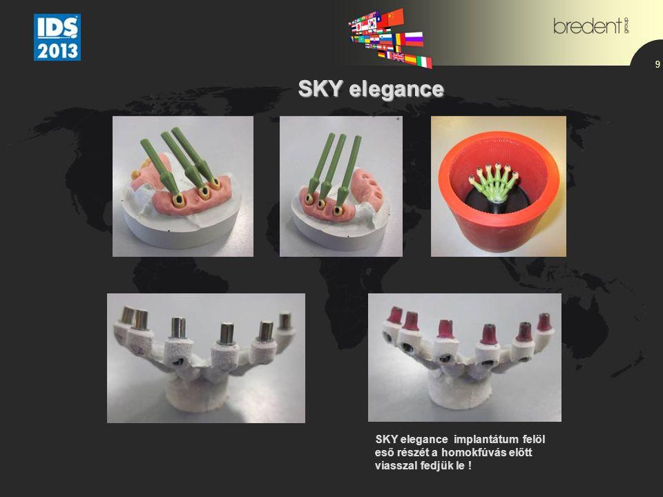 9 SKY elegance SKY elegance SKY elegance implantátum felöl eső részét a homokfúvás előtt viasszal fedjük le !