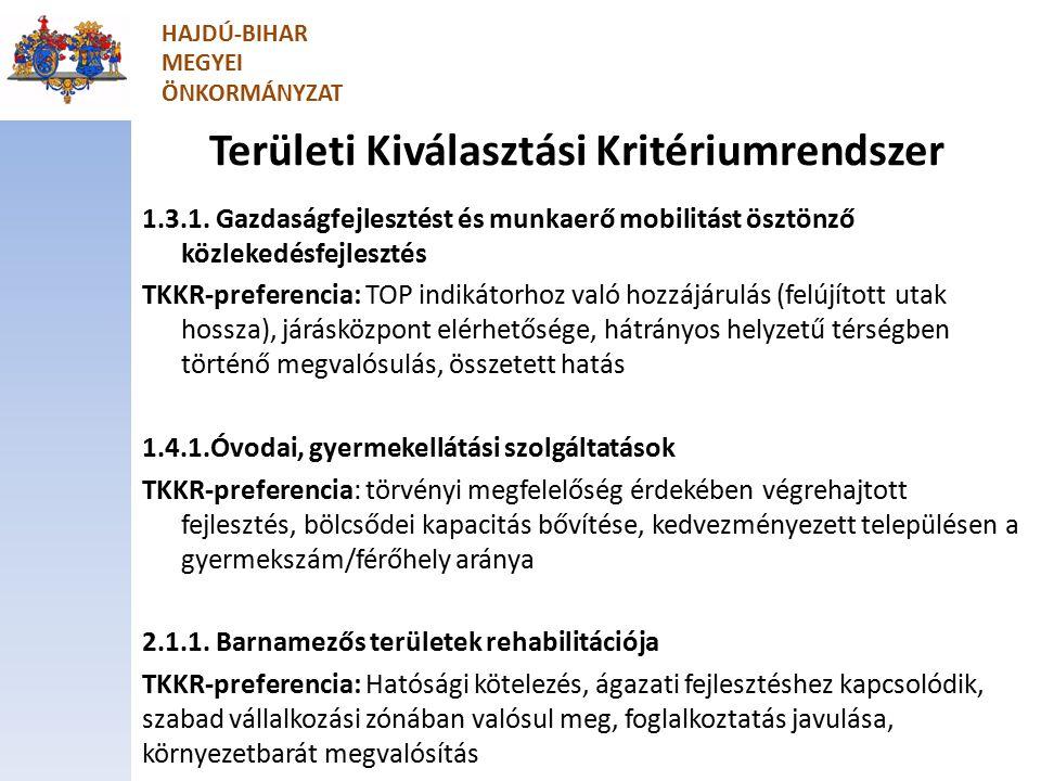 Területi Kiválasztási Kritériumrendszer 1.3.1.