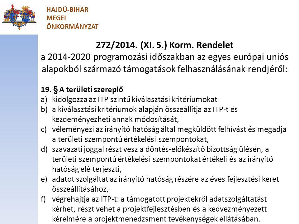 Projektmenedzsment feladatok ellátása 272/2014.(XI.