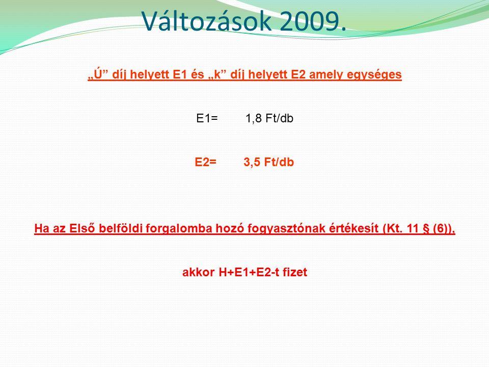 """""""Ú díj helyett E1 és """"k díj helyett E2 amely egységes E1= 1,8 Ft/db E2= 3,5 Ft/db Ha az Első belföldi forgalomba hozó fogyasztónak értékesít (Kt."""