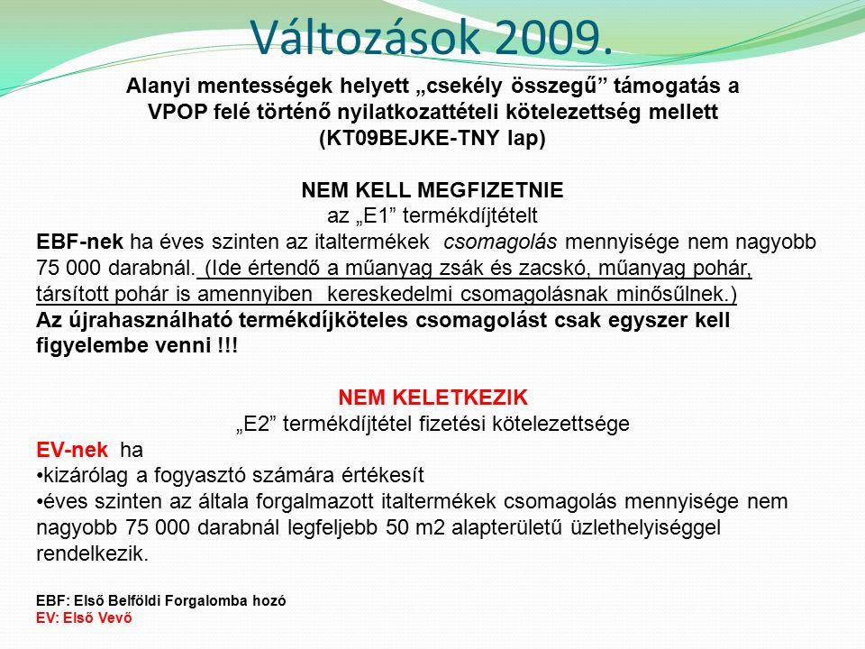 Változások 2009.