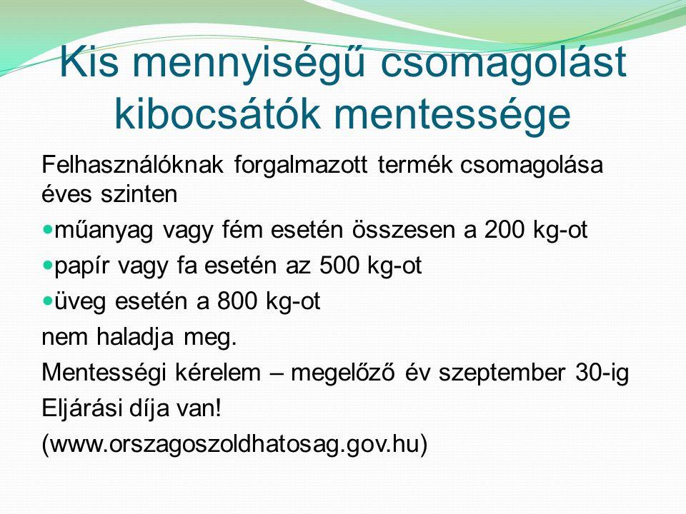 Kis mennyiségű csomagolást kibocsátók mentessége Felhasználóknak forgalmazott termék csomagolása éves szinten műanyag vagy fém esetén összesen a 200 kg-ot papír vagy fa esetén az 500 kg-ot üveg esetén a 800 kg-ot nem haladja meg.