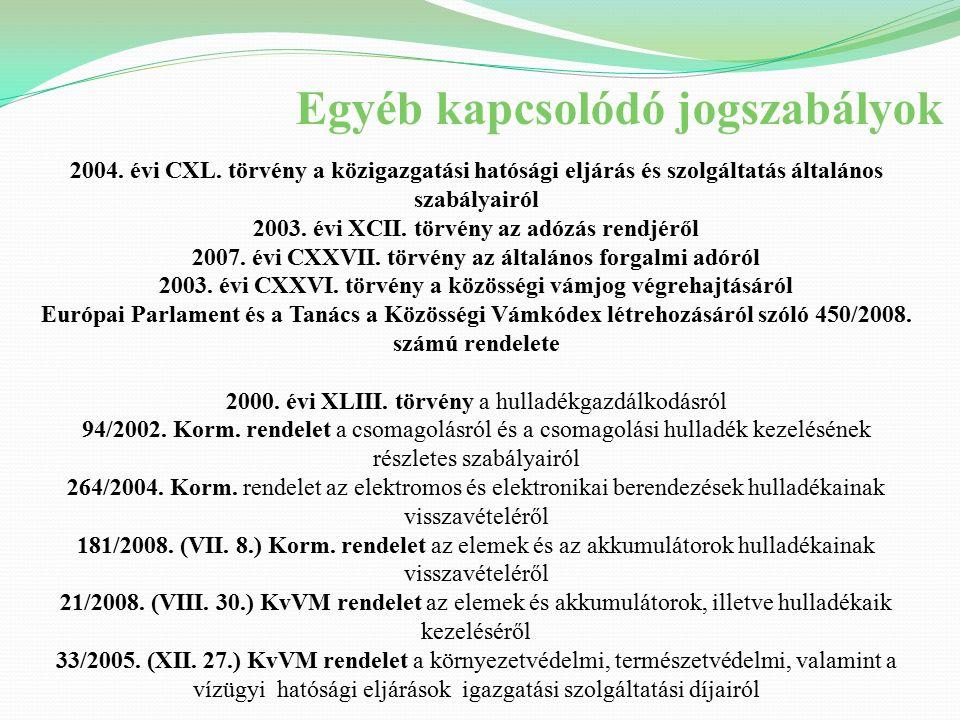 Termékdíjköteles termékek Egyéb kőolajtermékek Gumiabroncs Csomagolás (kereskedelmi csomagolás) Hűtőközeg – 2010.