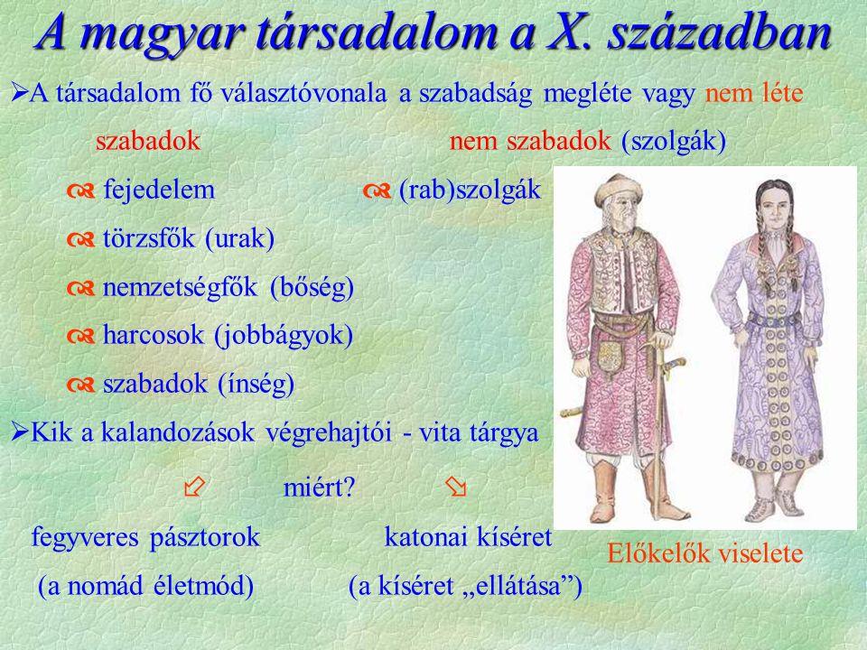Előkelők viselete A magyar társadalom a X.