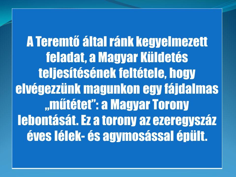 """A Teremtő által ránk kegyelmezett feladat, a Magyar Küldetés teljesítésének feltétele, hogy elvégezzünk magunkon egy fájdalmas """"műtétet"""": a Magyar Tor"""
