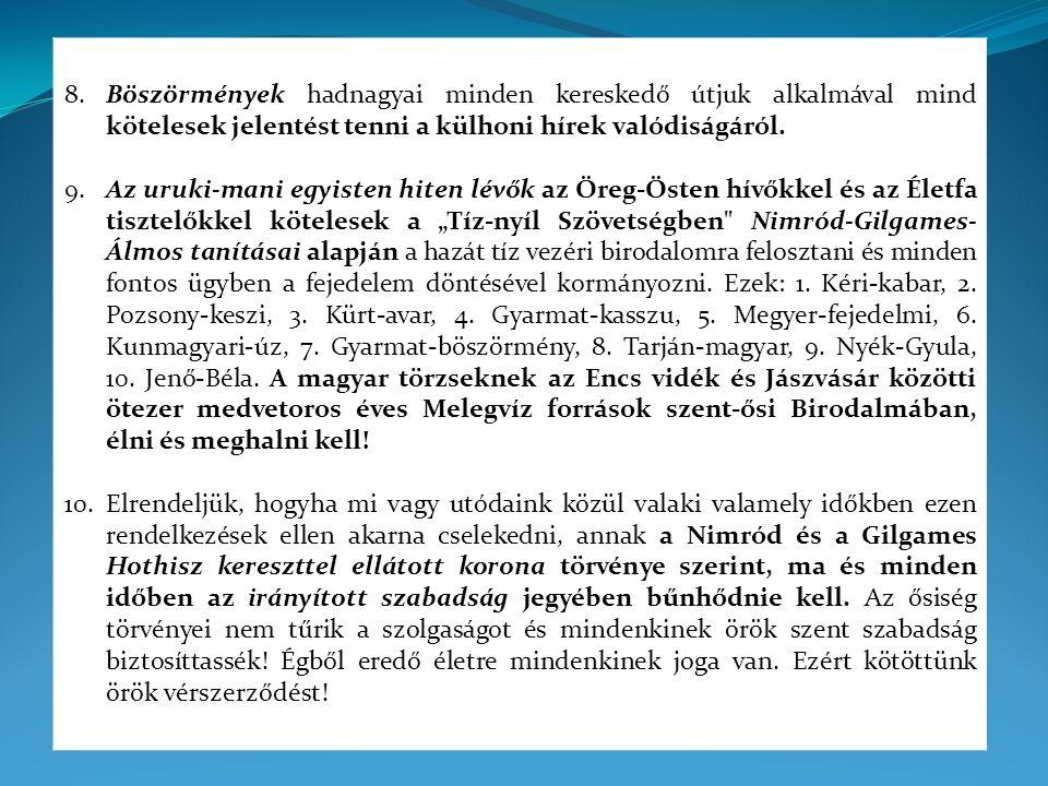 Magyarország Szabadság Alkotmánya Annaka Küldetésnek a teljesítéseként, amelyben a Teremtő kegyelme a Szent Koronával az Istenszülő feladatának részesévé tette az egyetemes magyarságot, annaka kötelességnek a teljesítéseként, amellyel a Teremtő az Istenszülő feladata ránk kegyelmezett részének hagyományainkon alapuló visszaállításával bízott meg bennünket, és annaka felismerésével, hogy az Istenszülő ránk kegyelmezett feladatai teljesítését akadályozó erőszak nemzetünk és az emberiség végveszélyét jelenti,