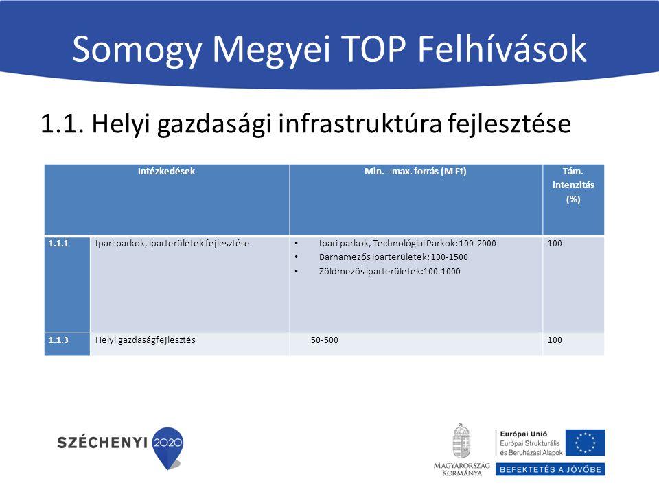 Somogy Megyei TOP Felhívások 1.1. Helyi gazdasági infrastruktúra fejlesztése Intézkedések Min.