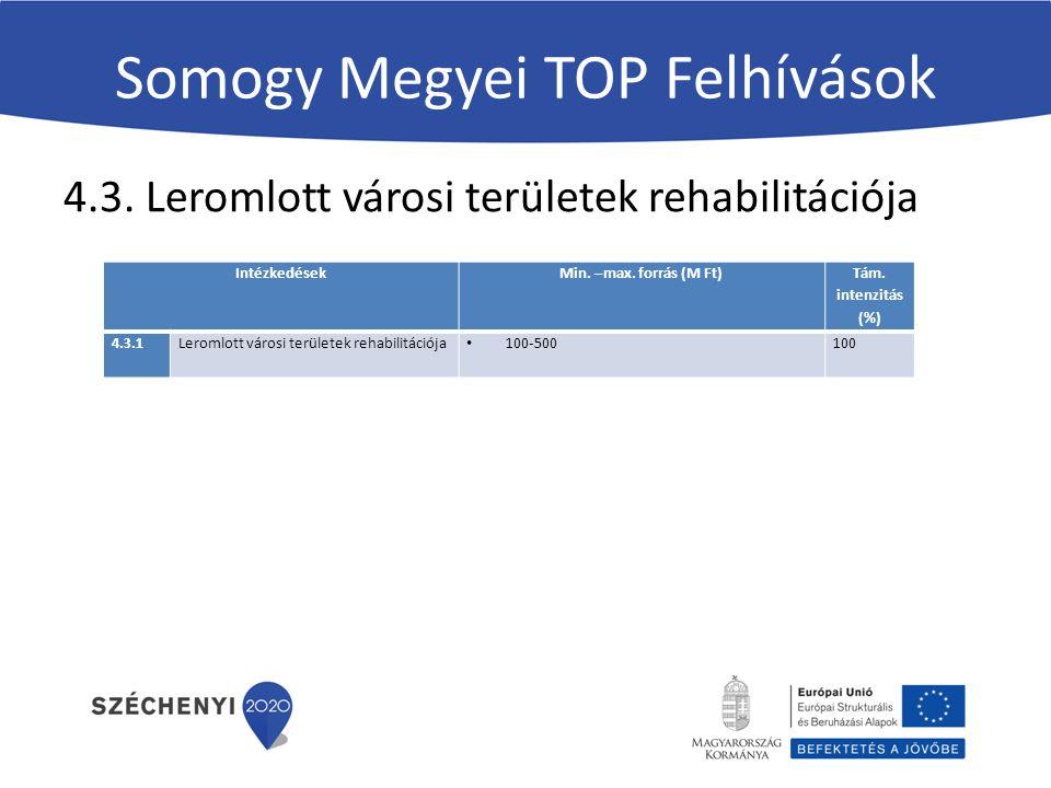 Somogy Megyei TOP Felhívások 4.3. Leromlott városi területek rehabilitációja Intézkedések Min.