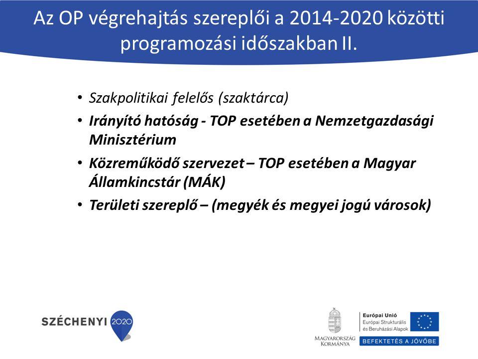 Az OP végrehajtás szereplői a 2014-2020 közötti programozási időszakban II.