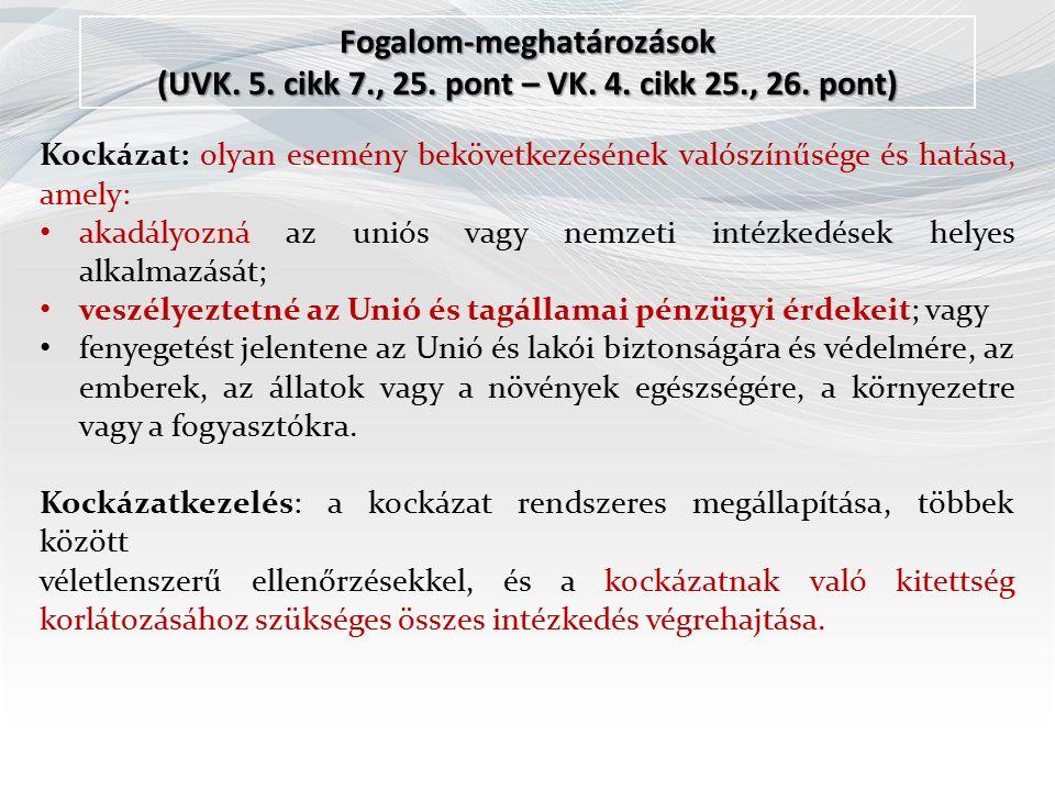 Fogalom-meghatározások (UVK. 5. cikk 7., 25. pont – VK.