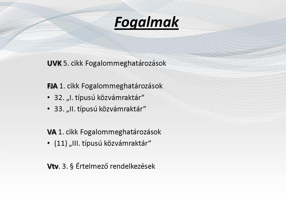 Fogalmak UVK UVK 5. cikk Fogalommeghatározások FJA FJA 1.