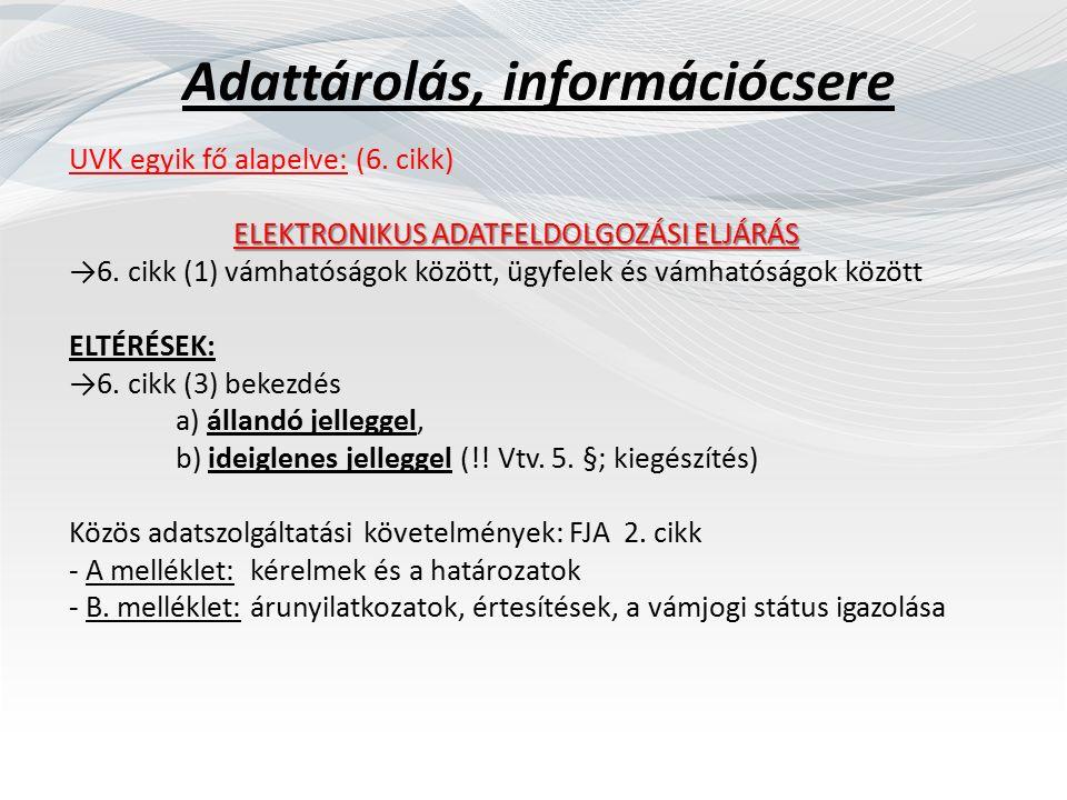 Okmányok megőrzése UVK 16.cikk Elektronikus rendszerek I.