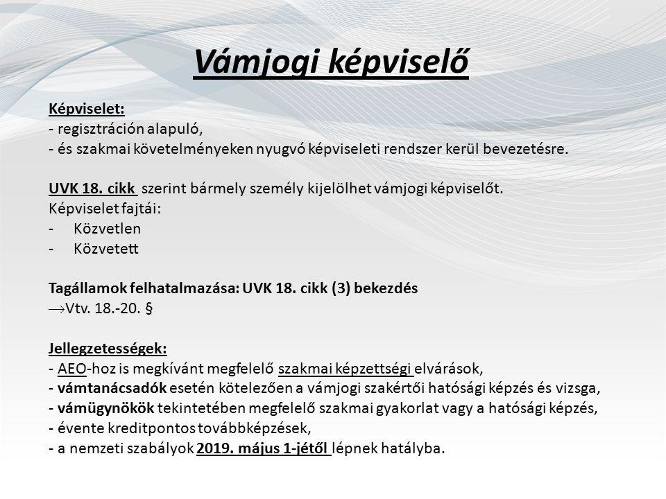 Vámjogi képviselő Képviselet: - regisztráción alapuló, - és szakmai követelményeken nyugvó képviseleti rendszer kerül bevezetésre.