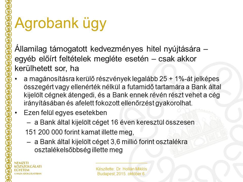 Készítette: Dr. Hollán Miklós Budapest, 2015. október 6. Agrobank ügy Államilag támogatott kedvezményes hitel nyújtására – egyéb előírt feltételek meg