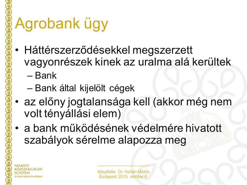 Készítette: Dr. Hollán Miklós Budapest, 2015. október 6. Agrobank ügy Háttérszerződésekkel megszerzett vagyonrészek kinek az uralma alá kerültek –Bank