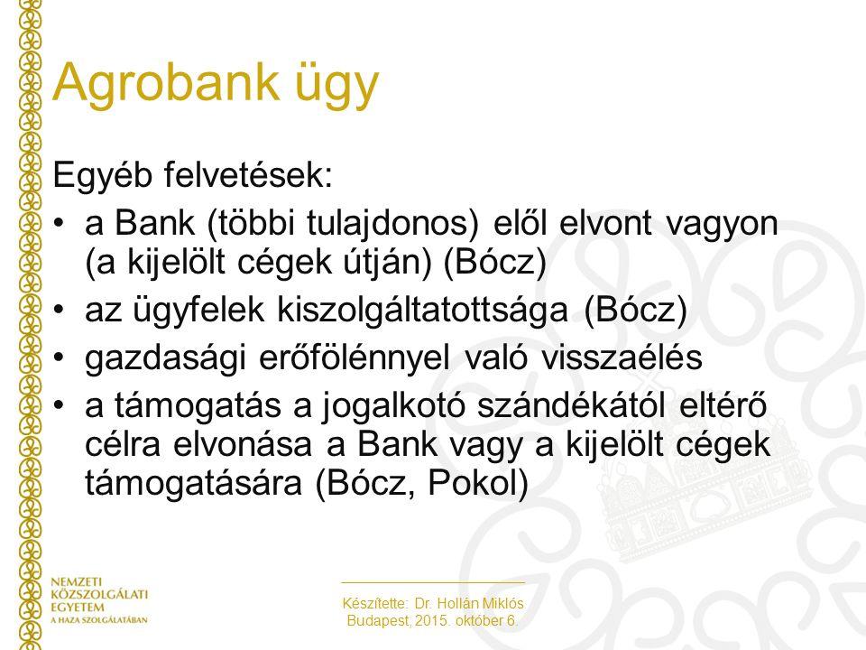 Készítette: Dr. Hollán Miklós Budapest, 2015. október 6. Agrobank ügy Egyéb felvetések: a Bank (többi tulajdonos) elől elvont vagyon (a kijelölt cégek