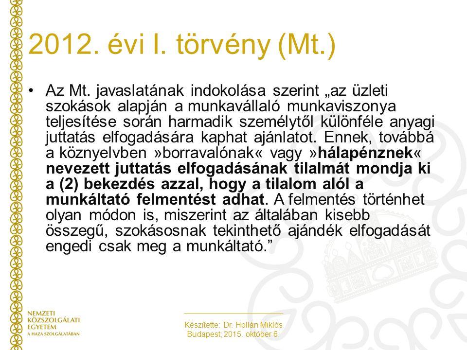 """Készítette: Dr. Hollán Miklós Budapest, 2015. október 6. Az Mt. javaslatának indokolása szerint """"az üzleti szokások alapján a munkavállaló munkaviszon"""
