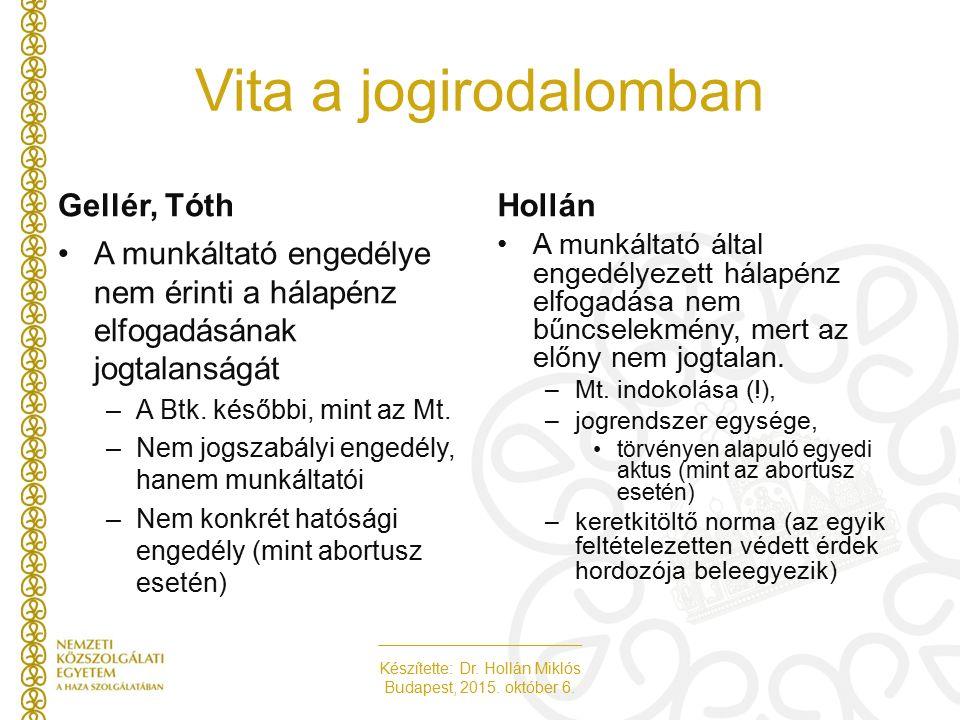 Készítette: Dr. Hollán Miklós Budapest, 2015. október 6. Vita a jogirodalomban Gellér, TóthHollán A munkáltató engedélye nem érinti a hálapénz elfogad