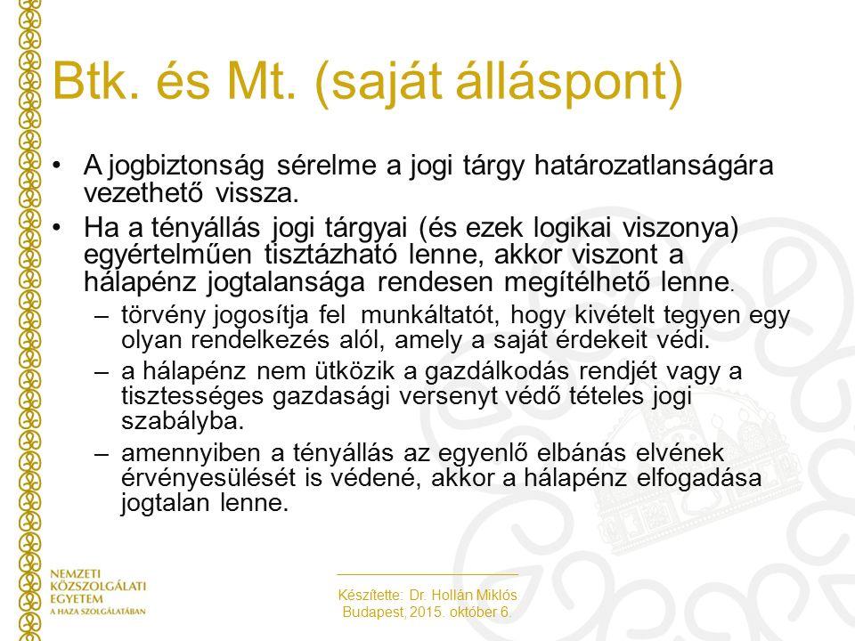 Készítette: Dr. Hollán Miklós Budapest, 2015. október 6. A jogbiztonság sérelme a jogi tárgy határozatlanságára vezethető vissza. Ha a tényállás jogi