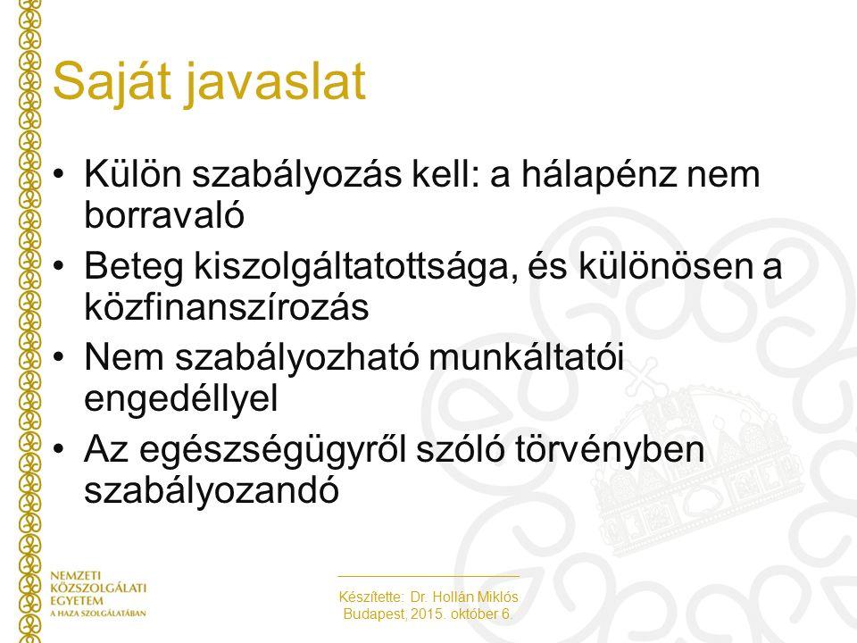 Készítette: Dr. Hollán Miklós Budapest, 2015. október 6. Saját javaslat Külön szabályozás kell: a hálapénz nem borravaló Beteg kiszolgáltatottsága, és