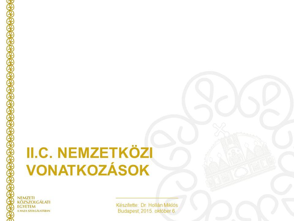 Készítette: Dr. Hollán Miklós Budapest, 2015. október 6. II.C. NEMZETKÖZI VONATKOZÁSOK