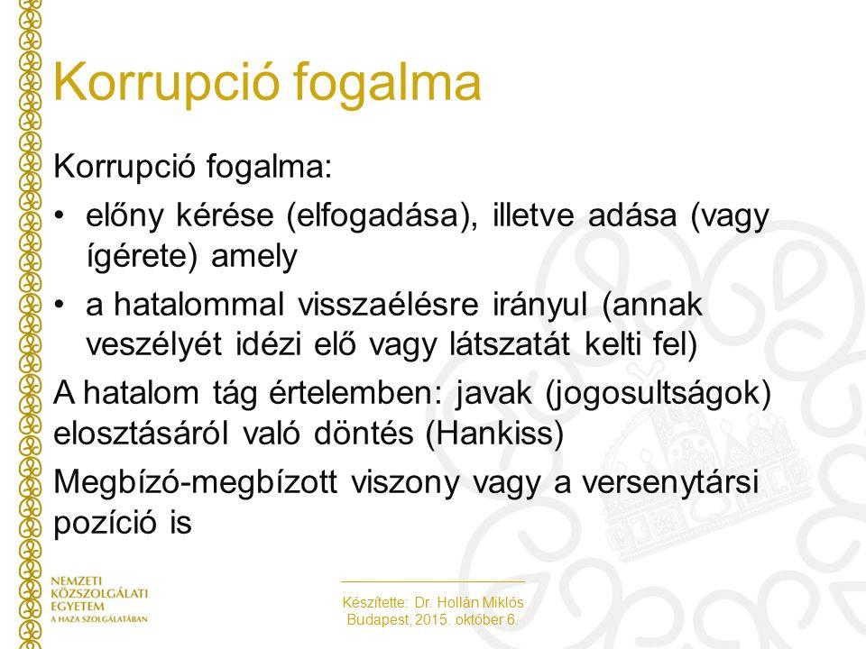 Készítette: Dr. Hollán Miklós Budapest, 2015. október 6. Korrupció fogalma Korrupció fogalma: előny kérése (elfogadása), illetve adása (vagy ígérete)