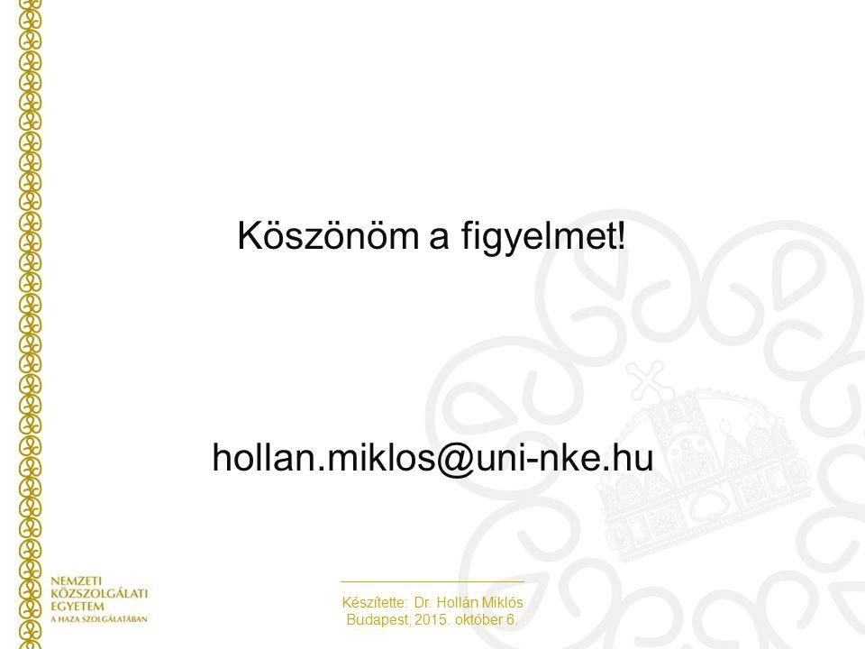 Készítette: Dr. Hollán Miklós Budapest, 2015. október 6. Köszönöm a figyelmet! hollan.miklos@uni-nke.hu