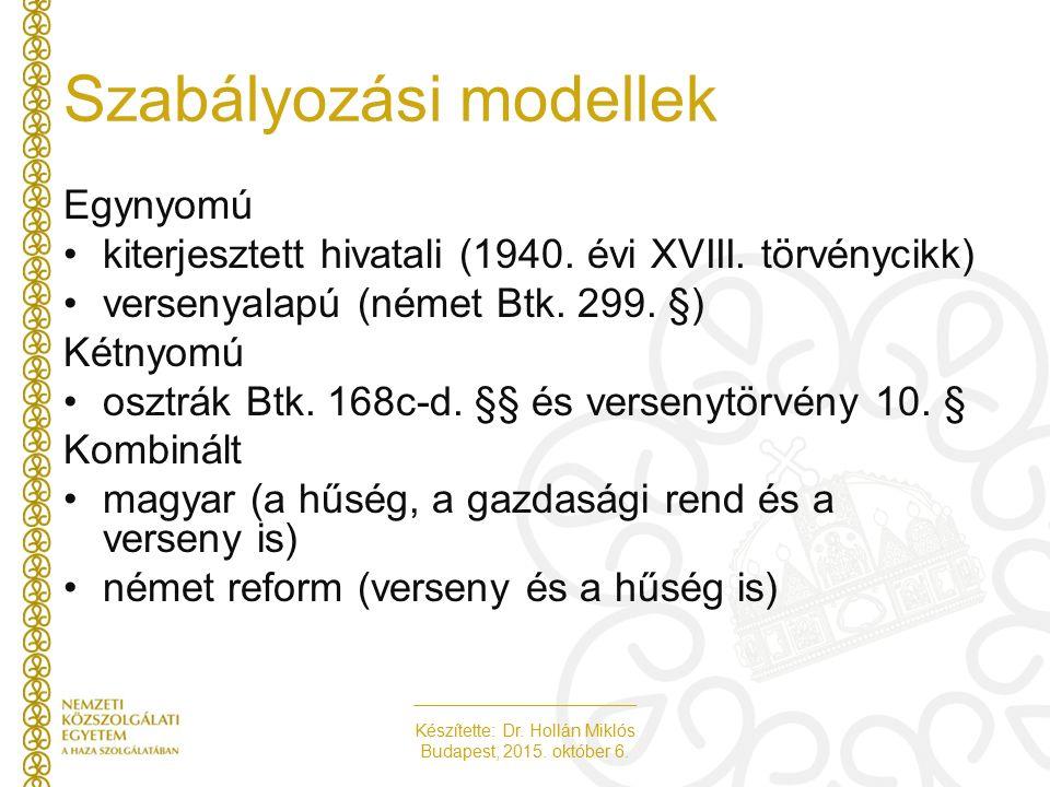 Készítette: Dr. Hollán Miklós Budapest, 2015. október 6. Szabályozási modellek Egynyomú kiterjesztett hivatali (1940. évi XVIII. törvénycikk) versenya