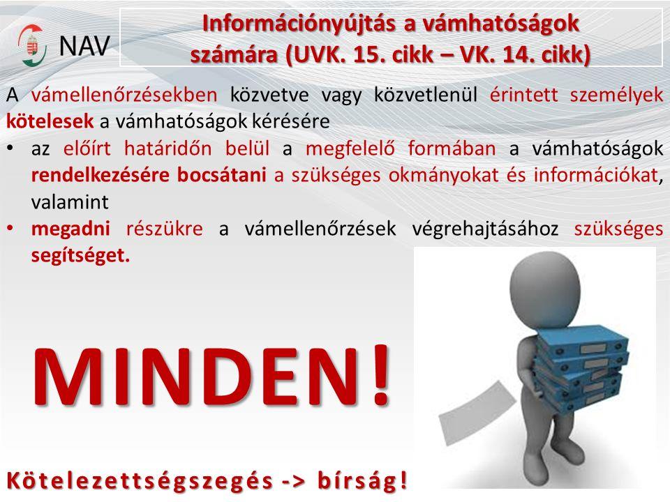 Információnyújtás a vámhatóságok számára (UVK.15.