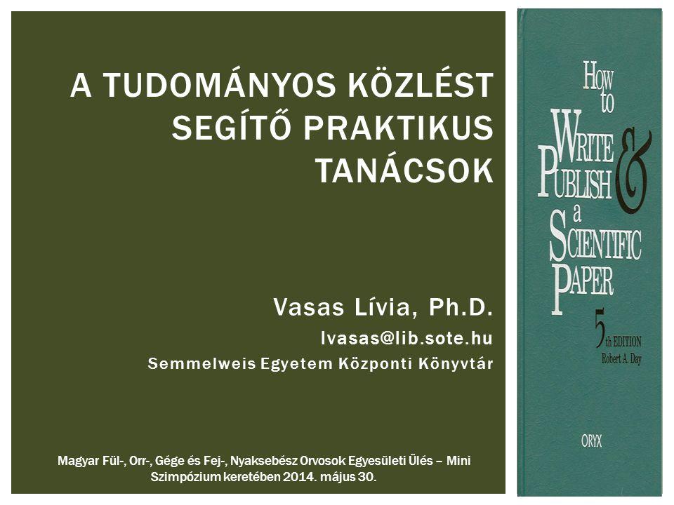 Vasas Lívia, Ph.D.
