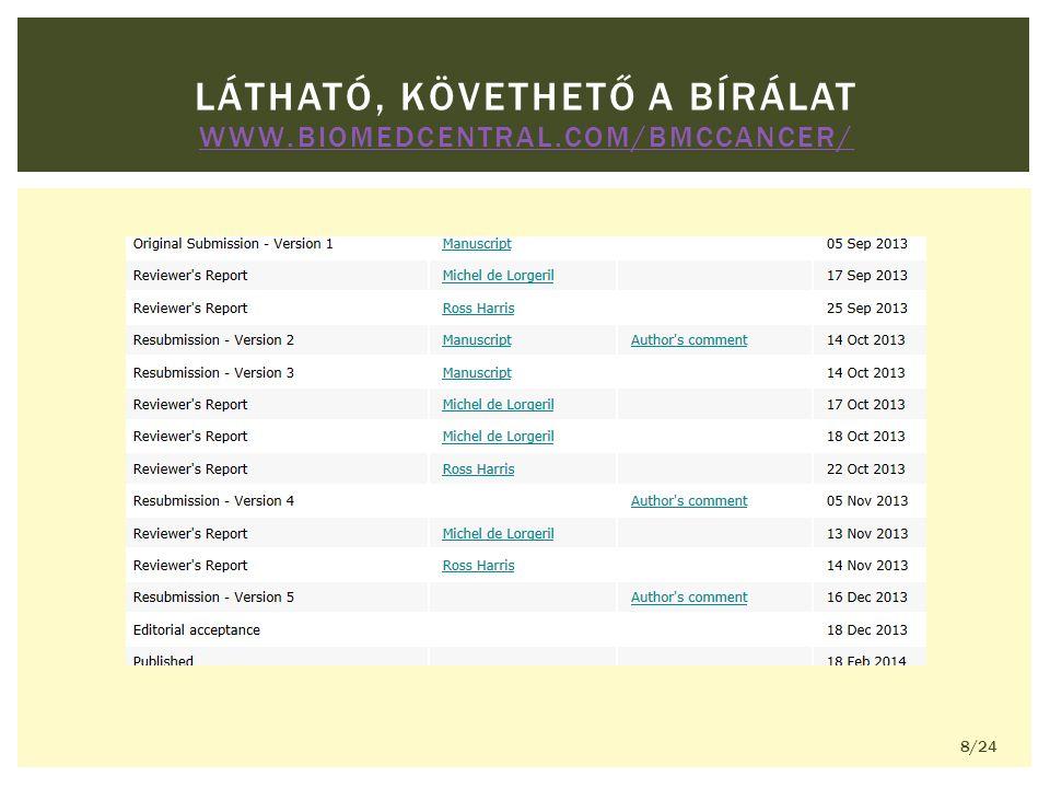 LÁTHATÓ, KÖVETHETŐ A BÍRÁLAT WWW.BIOMEDCENTRAL.COM/BMCCANCER/ WWW.BIOMEDCENTRAL.COM/BMCCANCER/ 8/24