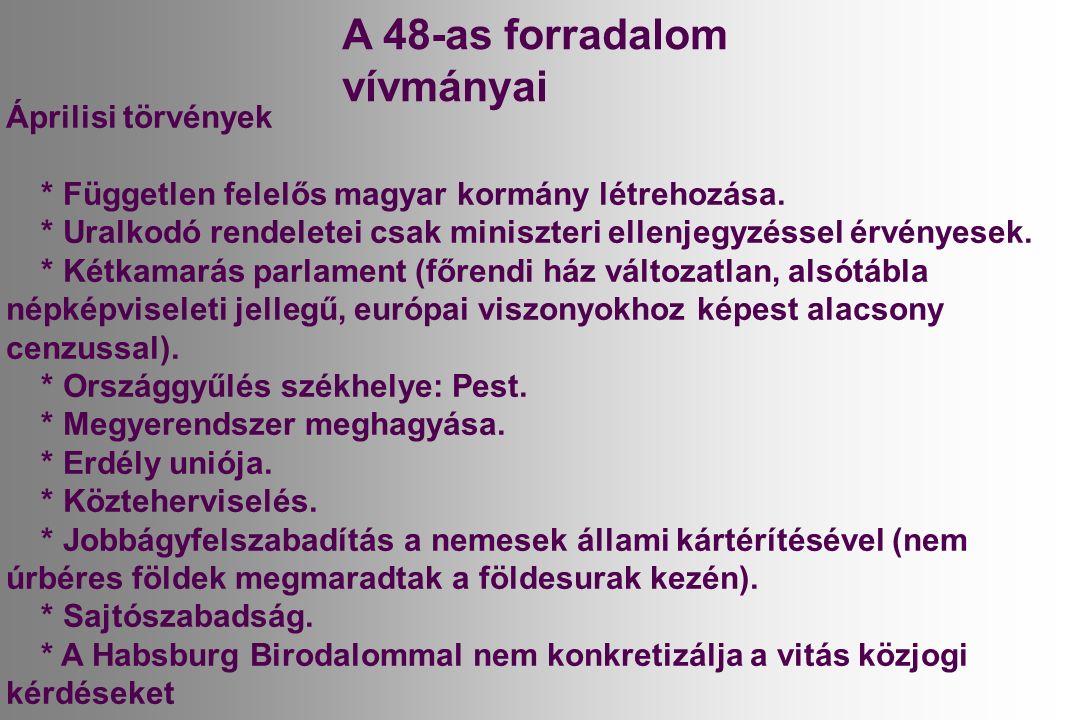 A 48-as forradalom vívmányai Áprilisi törvények * Független felelős magyar kormány létrehozása.
