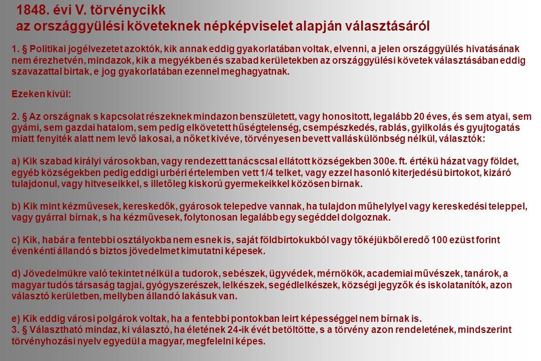 1848. évi V. törvénycikk az országgyülési követeknek népképviselet alapján választásáról 1.