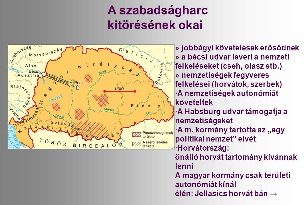 » jobbágyi követelések erősödnek » a bécsi udvar leveri a nemzeti felkeléseket (cseh, olasz stb.) » nemzetiségek fegyveres felkelései (horvátok, szerbek) ·A nemzetiségek autonómiát követeltek ·A Habsburg udvar támogatja a nemzetiségeket ·A m.