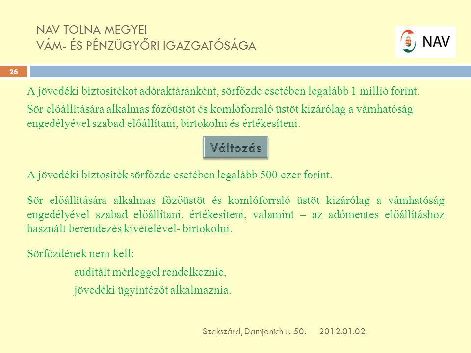 NAV TOLNA MEGYEI VÁM- ÉS PÉNZÜGYŐRI IGAZGATÓSÁGA 2012.01.02.