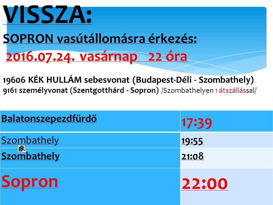 VISSZA: SOPRON vasútállomásra érkezés: 2016.07.24. vasárnap 22 óra 19606 KÉK HULLÁM sebesvonat (Budapest-Déli - Szombathely) 9161 személyvonat (Szentg