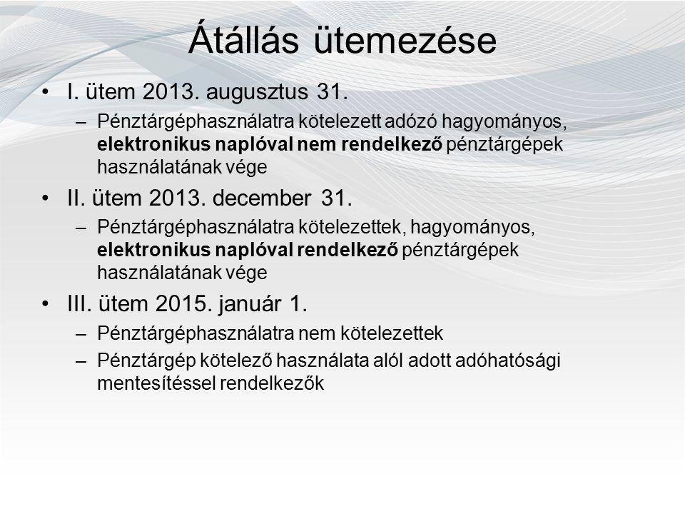 Átállás ütemezése I. ütem 2013. augusztus 31. –Pénztárgéphasználatra kötelezett adózó hagyományos, elektronikus naplóval nem rendelkező pénztárgépek h