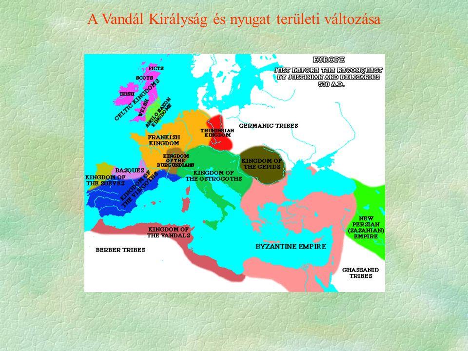 A Vandál Királyság és nyugat területi változása