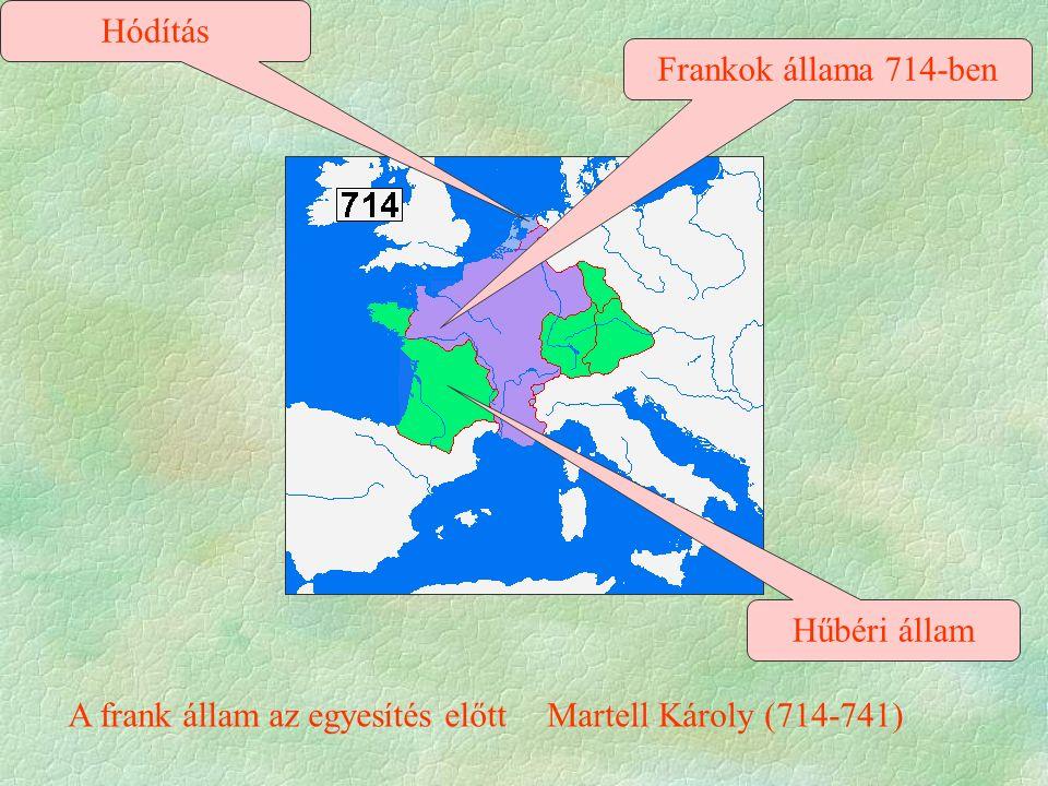 Frankok állama 714-ben A frank állam az egyesítés előttMartell Károly (714-741) Hűbéri állam Hódítás