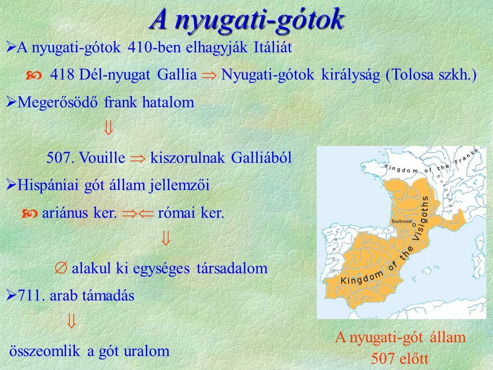 A nyugati-gótok 410-ben elhagyva Itáliát, 418 Dél-nyugat Galliában és Hispániában alapítanak államot, majd 507 után teljes egészében Hispá- niáran korlátozódik míg 711-ben az arab előrenyomulás meg nem dönti.