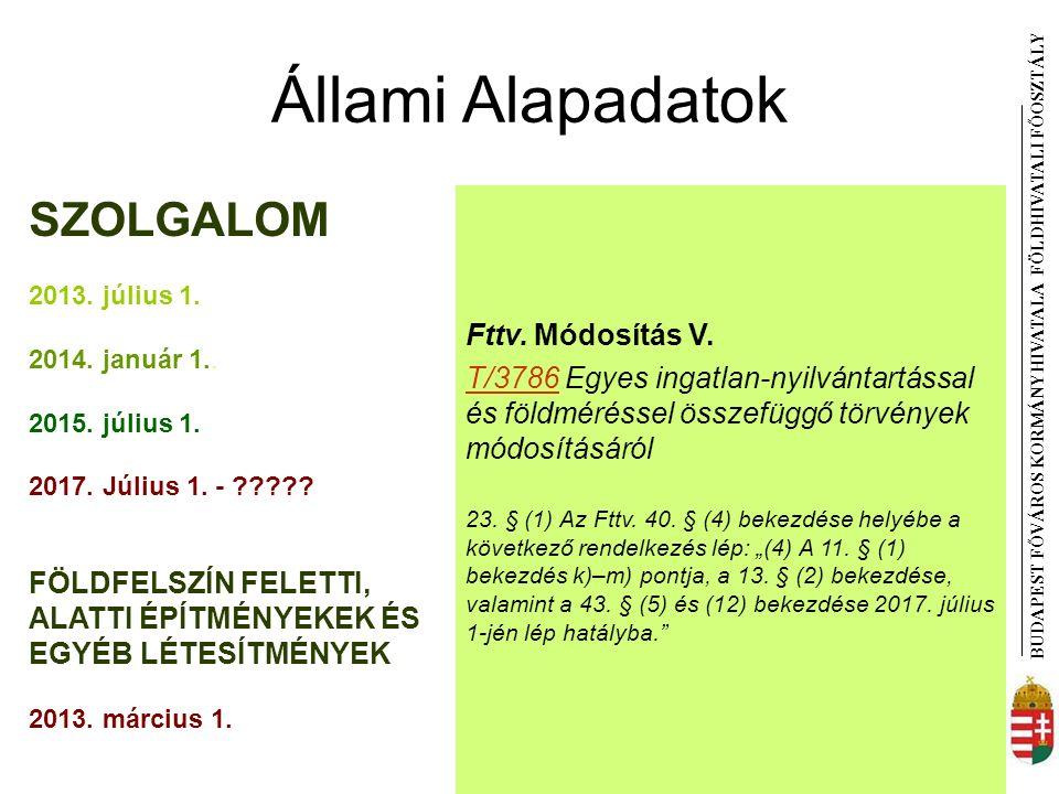 BUDAPEST FŐVÁROS KORMÁNYHIVATALA FÖLDHIVATAL I FŐOSZTÁLY Állami Alapadatok Fttv.