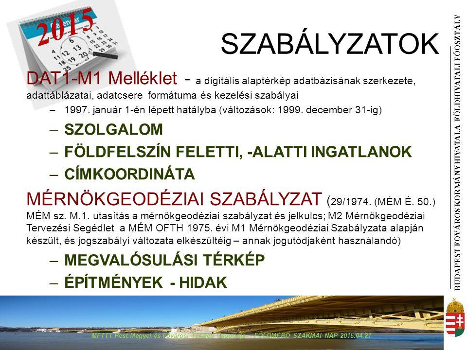BUDAPEST FŐVÁROS KORMÁNYHIVATALA FÖLDHIVATAL I FŐOSZTÁLY SZABÁLYZATOK DAT1-M1 Melléklet - a digitális alaptérkép adatbázisának szerkezete, adattáblázatai, adatcsere formátuma és kezelési szabályai –1997.